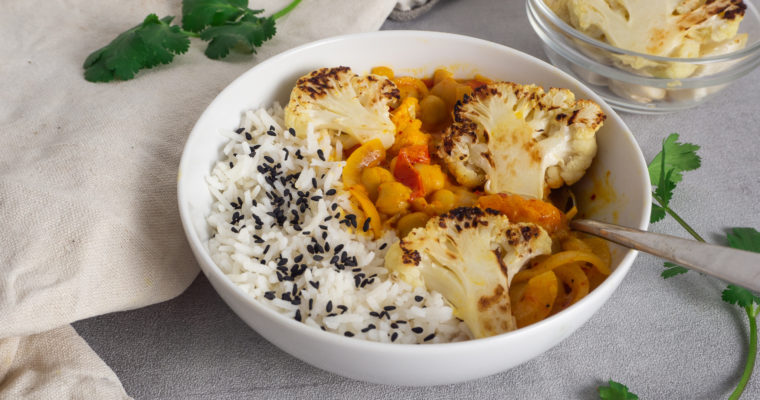 Roasted Cauliflower Recipe with Curry (Vegan)