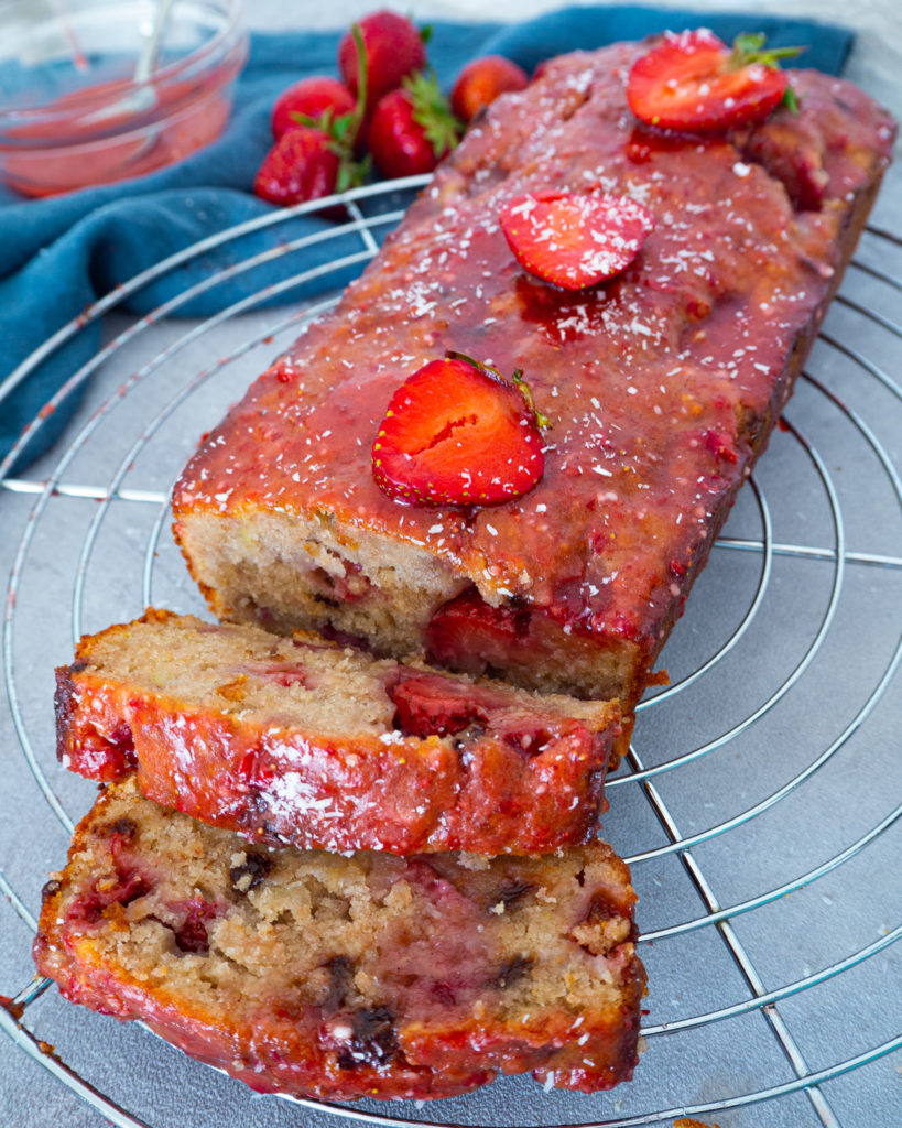 Vegan Banana Bread with Strawberries