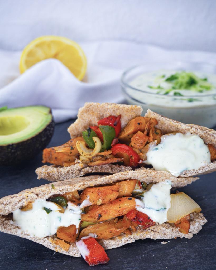 Vegane Pita Taschen mit Tzatziki