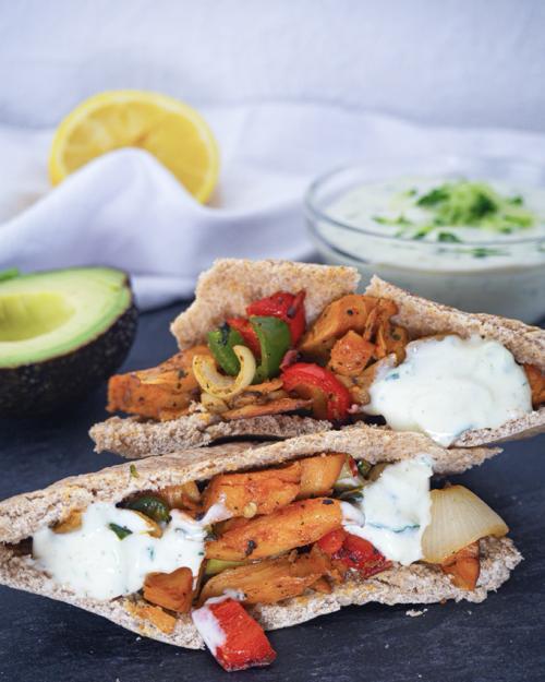 Vegane Pita Taschen mit Tzatziki Mini