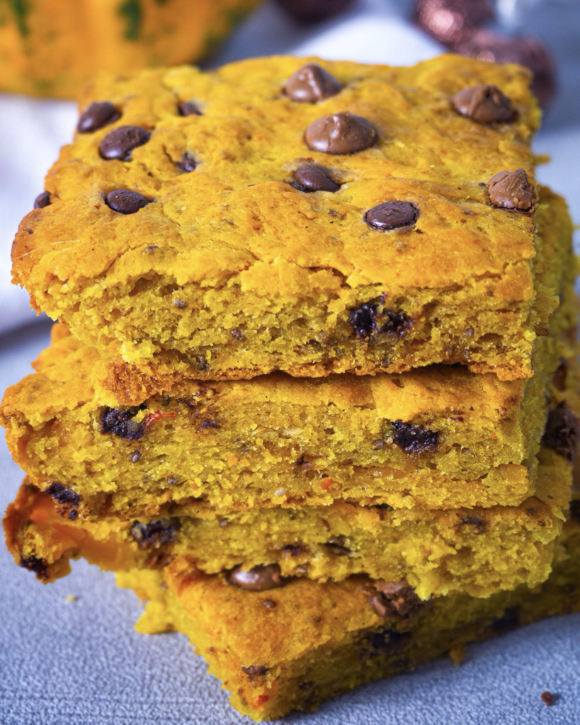 Close up pumpkin bars with chocolate chips
