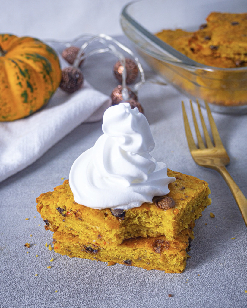 Pumpkin bars with whipped cream