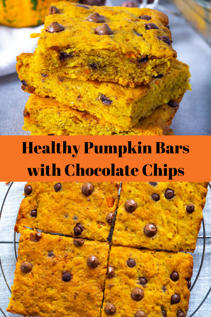 Healthy Pumpkin Bars with Chocolate Chips