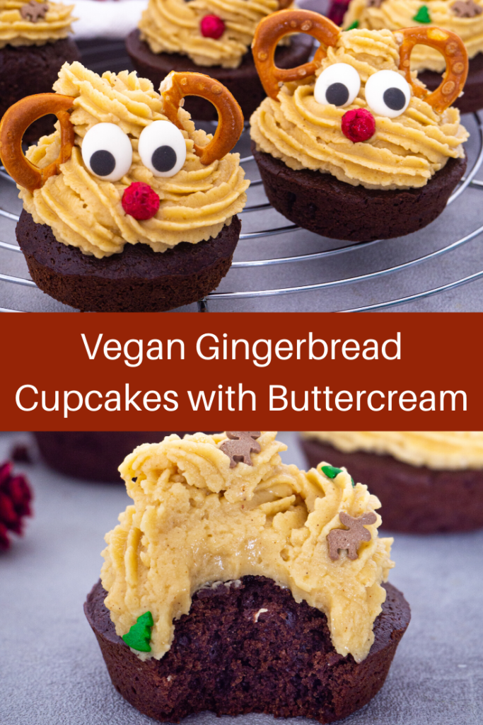 Vegan gingerbread cupcakes with buttercream frosting