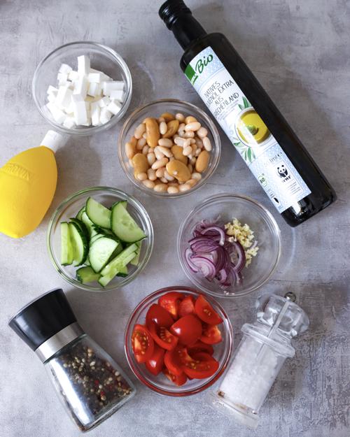 Zutaten weisser Bohnensalat